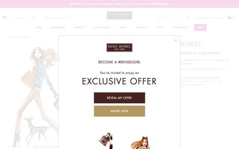 Screenshot of Jobs Page henribendel.com - Careers at Henri Bendel – Jobs at Henri Bendel – Employment Opportunities - captured July 18, 2018