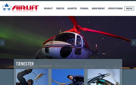 Screenshot of Home Page airlift.no - Airlift as - captured Sept. 23, 2014