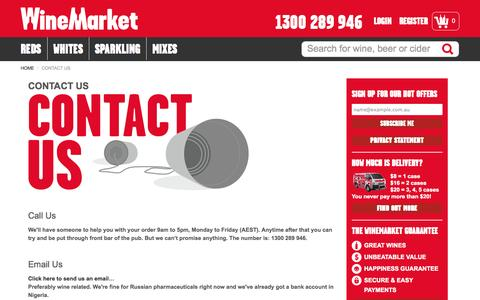 Screenshot of Contact Page winemarket.com.au - Contact Us | The WineMarket Connection - captured Sept. 25, 2014