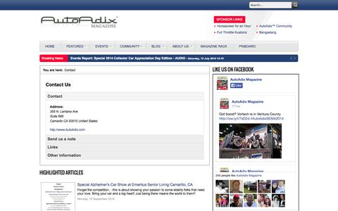 Screenshot of Contact Page autoadix.com - Interactive Online Automotive Magazine with Video and Interviews - Contact - captured Nov. 5, 2014