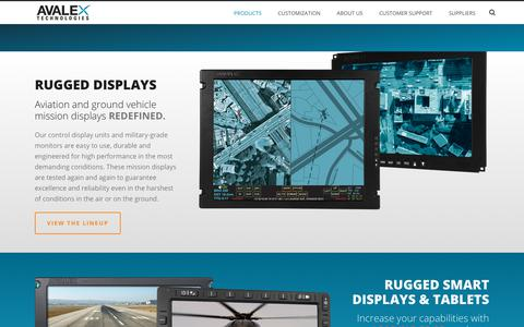 Screenshot of Products Page avalex.com - Aviation and Ground Vehicle Mission Display Products | Avalex Technologies - captured Nov. 6, 2018