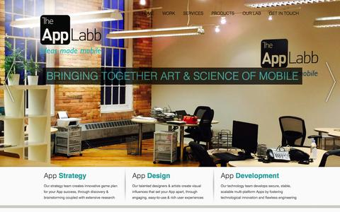Screenshot of Home Page theapplabb.com - Mobile App, Mobile Apps, Mobile Application, Web Apps, Web Applications Mobile Applications Development Toronto GTA Canada | TheAppLabb - captured Sept. 25, 2014