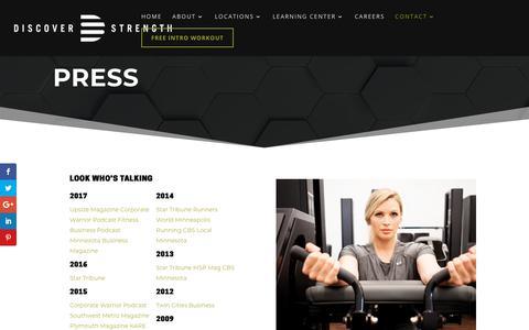 Screenshot of Press Page discoverstrength.com - Press - Discover Strength - captured Dec. 9, 2018