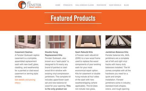 Screenshot of Products Page fensterusa.com - Featured Products - Fenster Components - captured July 9, 2018