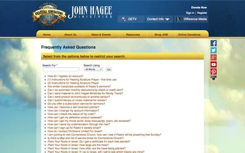 Screenshot of FAQ Page jhm.org - FAQs - captured Sept. 24, 2014
