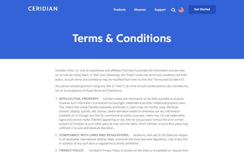 Screenshot of Terms Page ceridian.com - Ceridian Website Usage Terms Conditions - captured Sept. 20, 2018