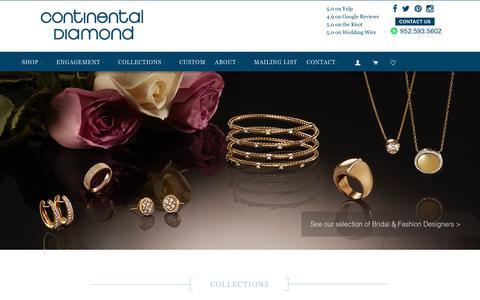 Screenshot of Home Page continentaldiamond.com - Minneapolis Jewelers + Jewelry Store + Shopping : Continental Diamond - captured July 21, 2018