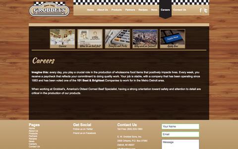 Screenshot of Jobs Page grobbel.com - Careers | Grobbel's, America's Oldest Corned Beef Specialist - captured Oct. 1, 2014