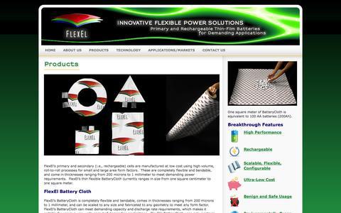Screenshot of Products Page flexelinc.com - FlexEl, LLC - Innovative Flexible Power Solutions - captured Sept. 16, 2014