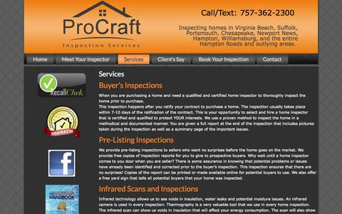 Screenshot of Services Page procraftinspections.com - Services | Procraft Inspection - captured Oct. 3, 2014