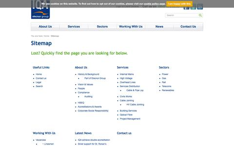 Screenshot of Site Map Page iqagroup.co.uk - IQA Group - Utility Contractors - Scotland & the UK - captured Sept. 30, 2014