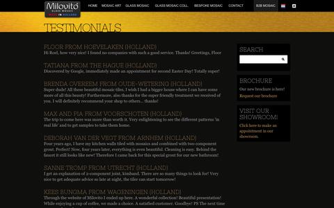 Screenshot of Testimonials Page milovito.com - Testimonials - Milovito glasmozaïek - captured Oct. 27, 2014