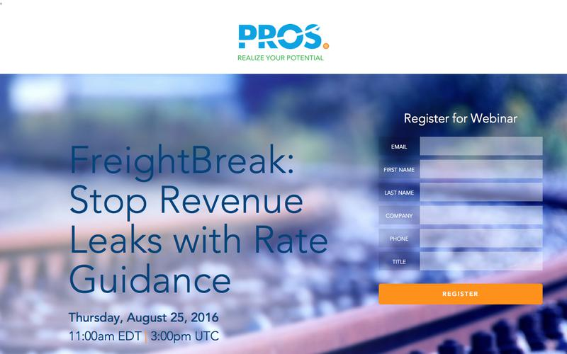 FreightBreak: Stop Revenue Leaks with Rate Guidance | PROS Webinars | PROS