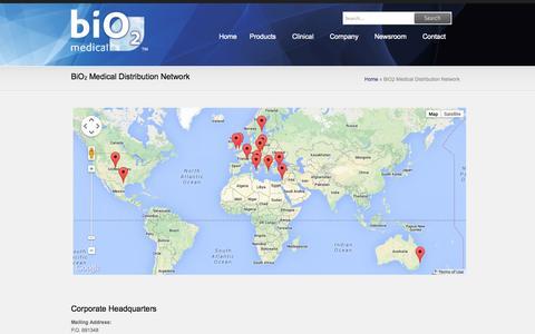 Screenshot of Contact Page Locations Page bio2medical.com - BiO2 Medical Distribution Network | BiO2 Medical - captured Oct. 22, 2014