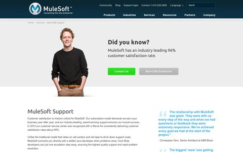 Screenshot of Support Page mulesoft.com - Mule ESB Support   ESB License & Subscription   MuleSoft - captured Oct. 10, 2014