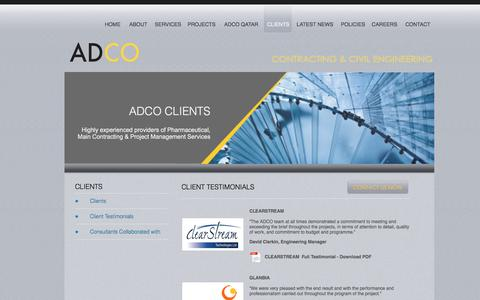 Screenshot of Testimonials Page adcocce.ie - ADCO Client Testimonials - ADCO Clients | ADCO - captured Nov. 19, 2016
