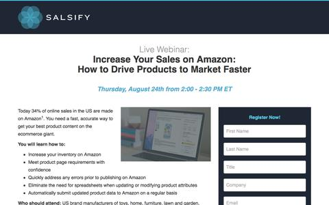Screenshot of Landing Page salsify.com - Webinar - How To Get to Market Faster on Amazon - captured Aug. 31, 2017