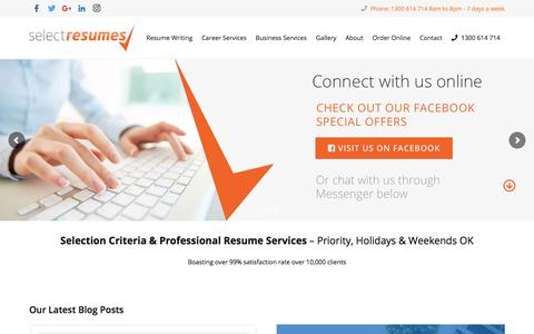 Screenshot of Home Page selectresumes.com.au - Professional Resume Services by Professional and Specialist Resume Writers - captured Sept. 20, 2018