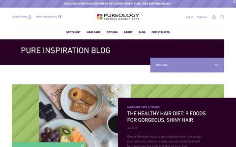Screenshot of Blog pureology.com - Pure Inspiration Blog - captured Sept. 22, 2017