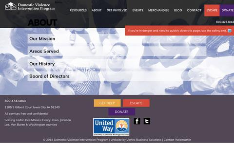 Screenshot of About Page dvipiowa.org - About - Domestic Violence Intervention Program - captured Oct. 9, 2018
