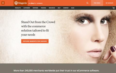 Screenshot of Home Page magento.com - eCommerce Software & eCommerce Platform Solutions | Magento - captured Jan. 15, 2015