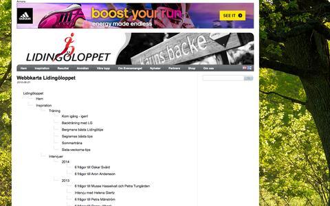 Screenshot of Site Map Page lidingoloppet.se - Lidingoloppet - Sitemap - captured Sept. 30, 2014
