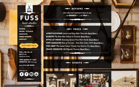 Screenshot of Press Page fusshairstudio.com - Fuss Hair Studio – Press - captured Oct. 27, 2014