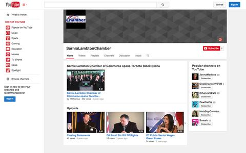 Screenshot of YouTube Page youtube.com - SarniaLambtonChamber  - YouTube - captured Oct. 27, 2014
