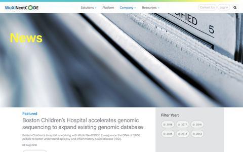 Screenshot of Press Page wuxinextcode.com - News Archive - WuXi NextCODE - captured Nov. 1, 2018