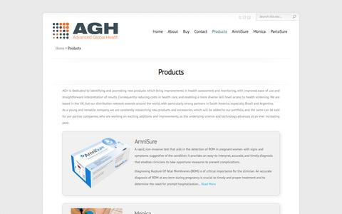 Screenshot of Products Page aghealth.co.uk - Products | AGH | Advanced Global Health - captured Oct. 4, 2014