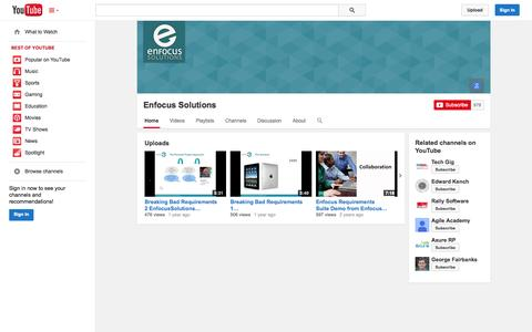 Screenshot of YouTube Page youtube.com - Enfocus Solutions  - YouTube - captured Oct. 22, 2014