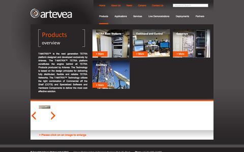 Screenshot of Products Page artevea.com - Artevea: Products - captured Oct. 4, 2014