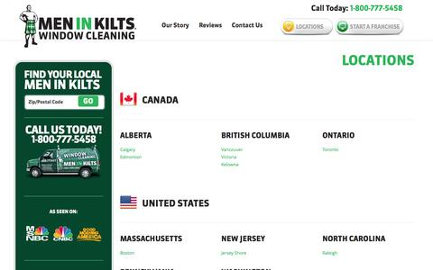 Screenshot of Locations Page meninkilts.com - Locations   Window & Gutter Cleaning Services   Men In Kilts ®Men In Kilts ® - captured Oct. 27, 2014
