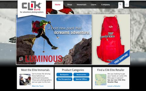 Screenshot of Home Page clikelite.com - Clik Elite | Camera Bags, Camera Backpacks, DSLR Bags & Camera Cases - captured Jan. 20, 2016