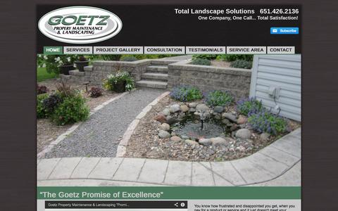 "Screenshot of Home Page goetzlandscape.com - ""The Goetz Promise of Excellence"" 