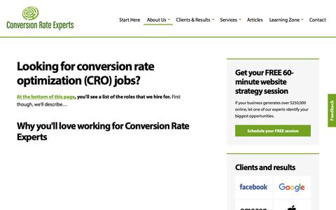 Screenshot of Jobs Page conversion-rate-experts.com - Conversion rate optimization jobs | Conversion Rate Experts - captured Nov. 11, 2016