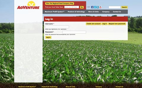 Screenshot of Login Page agventure.com - Log in   AgVenture, Inc. - captured Nov. 20, 2016