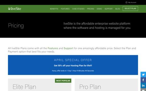 Screenshot of Pricing Page livesite.com - liveSite Enterprise Website Platform - Pricing - captured April 30, 2017
