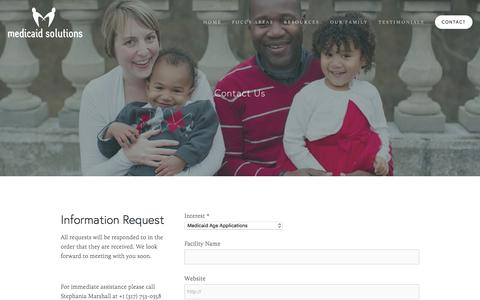 Screenshot of Contact Page medicaidsolutionsllc.com - Contact — Medicaid Solutions - captured Jan. 9, 2016