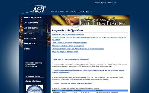 Screenshot of FAQ Page aci-inc.biz - Welcome to Automated Currency Instruments - captured Oct. 4, 2014