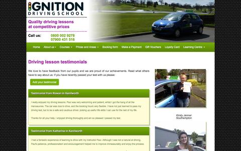Screenshot of Testimonials Page driving-lesson.co.uk - Ignition Driving School - Testimonials |  Driving Lessons | Intensive Driving Courses - captured March 6, 2016