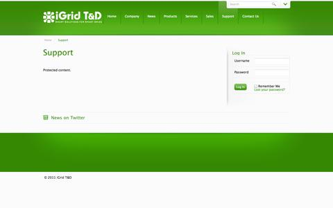Screenshot of Support Page igrid-td.com - Customer Private Area | iGrid T&D - captured Oct. 6, 2014