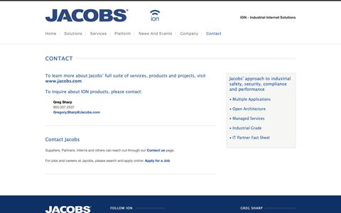 Screenshot of Contact Page jacobs.com - Contact | Jacobs ION - captured Nov. 2, 2018