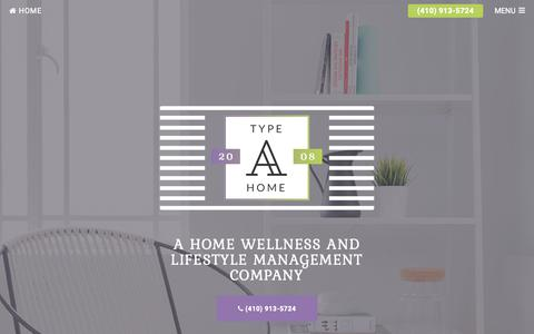 Screenshot of Home Page typeahome.com - Type A Home Concierge | A Home Wellness and Lifestyle Management Company, Home Organizing in Baltimore, MD - captured Oct. 18, 2018