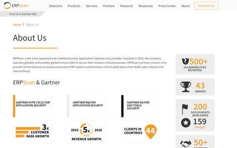 Screenshot of About Page erpscan.com - About Us   SAP Cyber Security Solutions - captured April 26, 2018