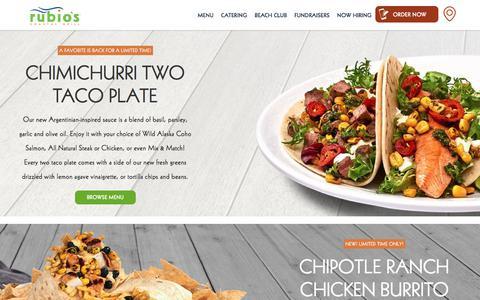 Screenshot of Home Page rubios.com - Coastal Inspired Fresh Mexican Food | Rubio's - captured May 18, 2018