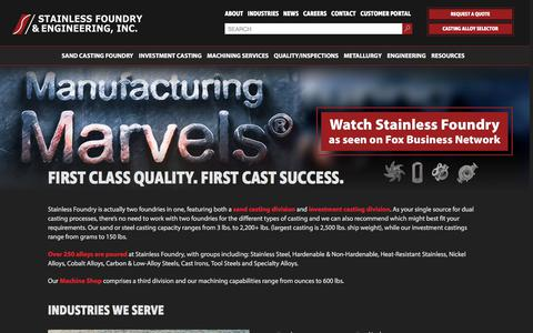 Screenshot of Home Page stainlessfoundry.com - Stainless Foundry   Steel Castings   Investment Sand Foundry - captured Dec. 2, 2017