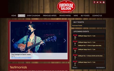 Screenshot of Testimonials Page firehousesaloon.com - Testimonials | Live Entertainment & Music Venue in Houston, TX - captured Feb. 10, 2016