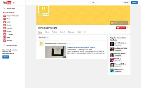 Screenshot of YouTube Page youtube.com - www.mepirra.com  - YouTube - captured Oct. 26, 2014
