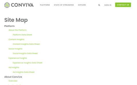 Screenshot of Site Map Page conviva.com - Site Map - Conviva - captured Sept. 16, 2019
